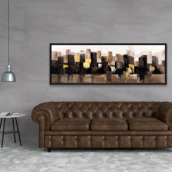 Framed 20 x 60 - Earthy tones abstract cityscape