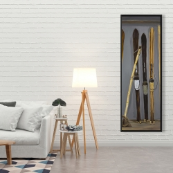 Framed 20 x 60 - Ski poles and vintage skis