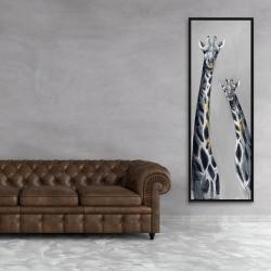 Framed 20 x 60 - Steel blue giraffe