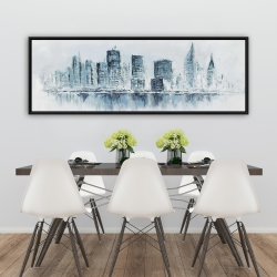 Framed 20 x 60 - City in blue colors