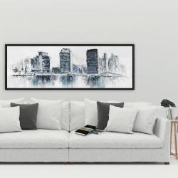 Framed 20 x 60 - Texturized blue colors cityscape