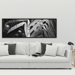 Framed 20 x 60 - Monochrome tropicals leaves