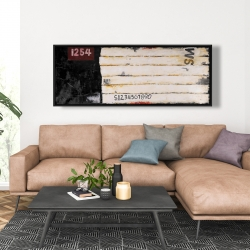 Framed 20 x 60 - Wooden pallets looking art with numbers