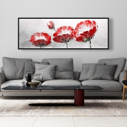 Framed 20 x 60 - Wild flowers on gray background