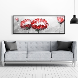 Framed 20 x 60 - Two wild flowers on gray background