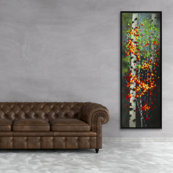 Framed 20 x 60 - Colorful dotted leaves birches