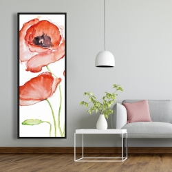 Framed 20 x 60 - Watercolor poppies