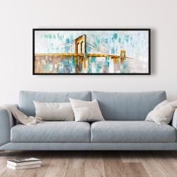 Framed 20 x 60 - Gold brooklyn bridge