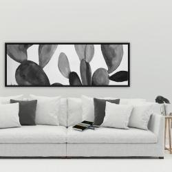 Framed 20 x 60 - Grayscale cactus