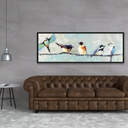 Framed 20 x 60 - Small colorful birds