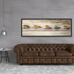 Framed 20 x 60 - Fishing flies with wood background