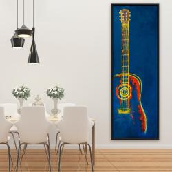 Framed 20 x 60 - Modern blue abstract guitar