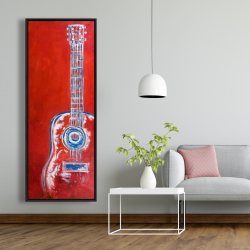 Framed 20 x 60 - Modern red abstract guitar