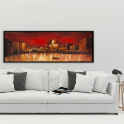 Framed 20 x 60 - City by red dawn