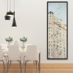Framed 20 x 60 - Birds flying in front of a building