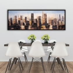 Framed 20 x 60 - Striped abstract buildings