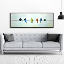 Framed 20 x 60 - Perched abstract birds
