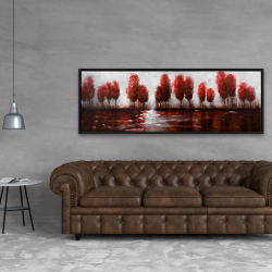Framed 20 x 60 - Red trees