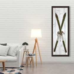 Framed 20 x 60 - Green vintage skis