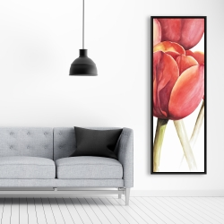 Framed 20 x 60 - Blossoming tulips closeup