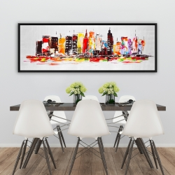 Framed 20 x 60 - City in bright colors