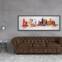 Framed 20 x 60 - Abstract city in bright colors