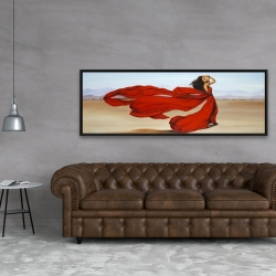 Framed 20 x 60 - Woman with a long red dress in the desert
