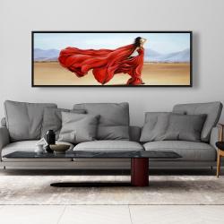 Framed 20 x 60 - Red dress in the desert