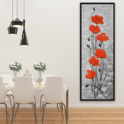 Framed 20 x 60 - Big red flowers