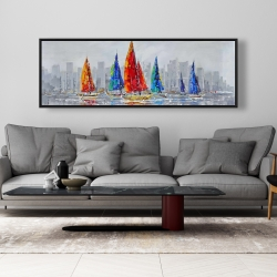 Framed 20 x 60 - Colorful boats near a gray city