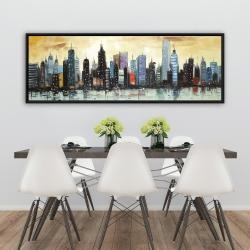 Framed 20 x 60 - Skyline on abstract cityscape