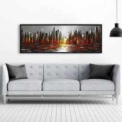 Framed 20 x 60 - Abstract red skyline
