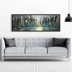 Framed 20 x 60 - Abstract blue skyline
