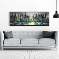 Framed 20 x 60 - Abstract blue skyline