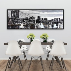 Framed 20 x 60 - Brooklyn bridge with sailboats