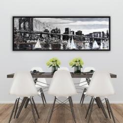 Framed 20 x 60 - Brooklyn bridge with sailboats