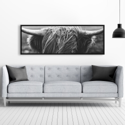 Framed 20 x 60 - Monochrome portrait highland cow