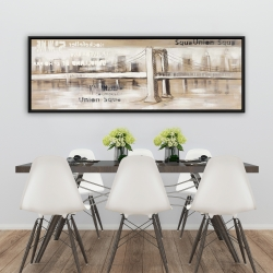 Framed 20 x 60 - Abstract bridge with typography