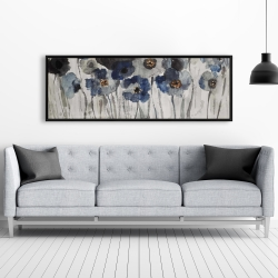 Framed 20 x 60 - Blue blurry flowers