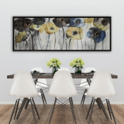 Framed 20 x 60 - Gray blue and yellow flowers