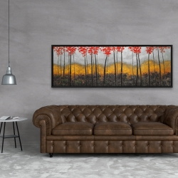 Framed 20 x 60 - Abstract autumn trees