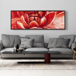 Framed 20 x 60 - Red chrysanthemum