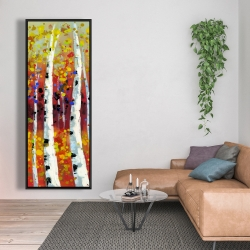 Framed 20 x 60 - Colored birches