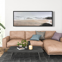 Framed 20 x 60 - Cloudy at the beach
