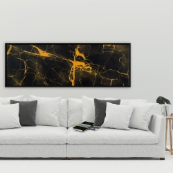 Framed 20 x 60 - Black and gold marble texture