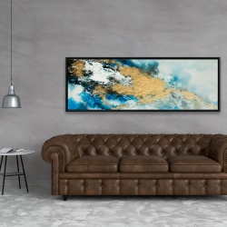 Framed 20 x 60 - Blue and gold marble