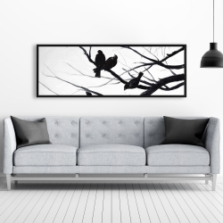 Framed 20 x 60 - Birds and branches silhouette