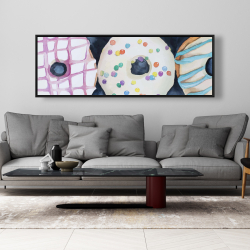 Framed 20 x 60 - Watercolor delicious looking doughtnuts