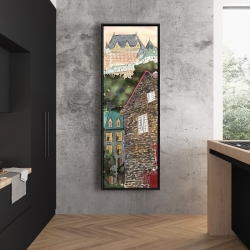 Framed 20 x 60 - Château frontenac in the petit champlain