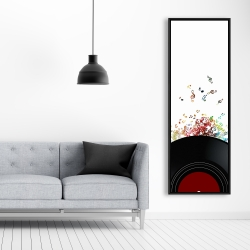 Framed 20 x 60 - Notes escaping from a vinyl record